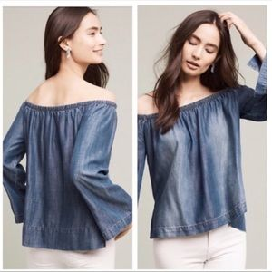 Cloth & Stone | Off The Shoulder Chambray Top Sz S